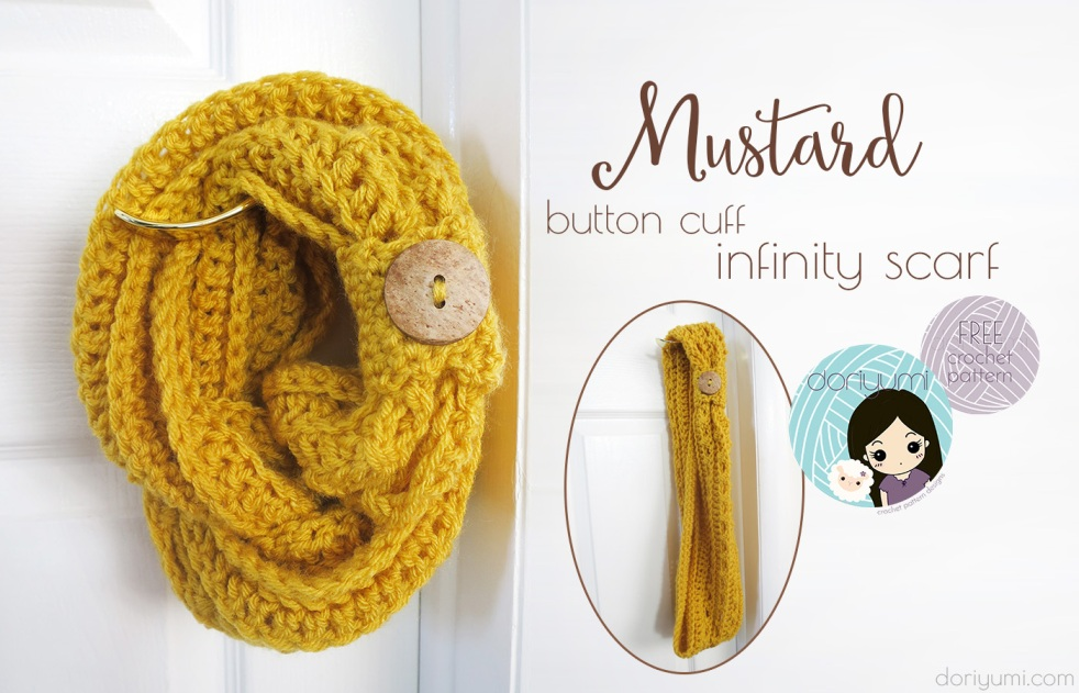 Mustard Button Cuff Infinity Scarf - free crochet pattern by DORIYUMI