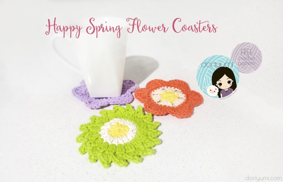 Happy Spring Flower Coasters - free crochet pattern by DORIYUMI