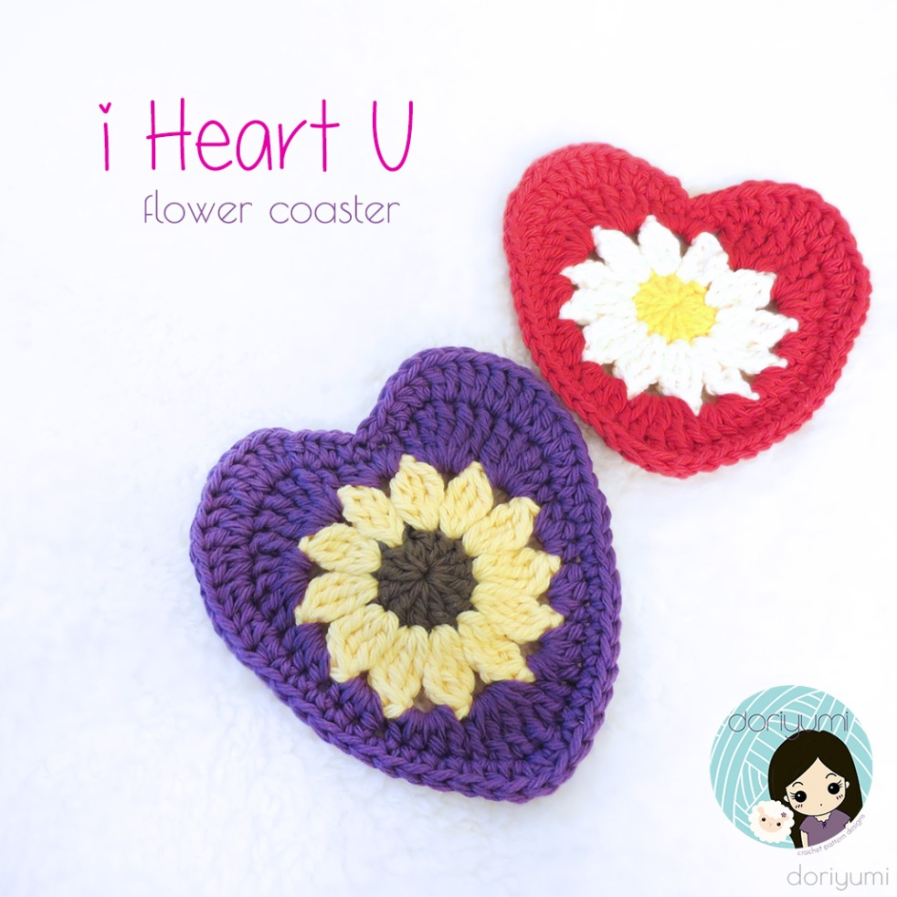 i Heart U Flower Coaster - Crochet Pattern by Doriyumi