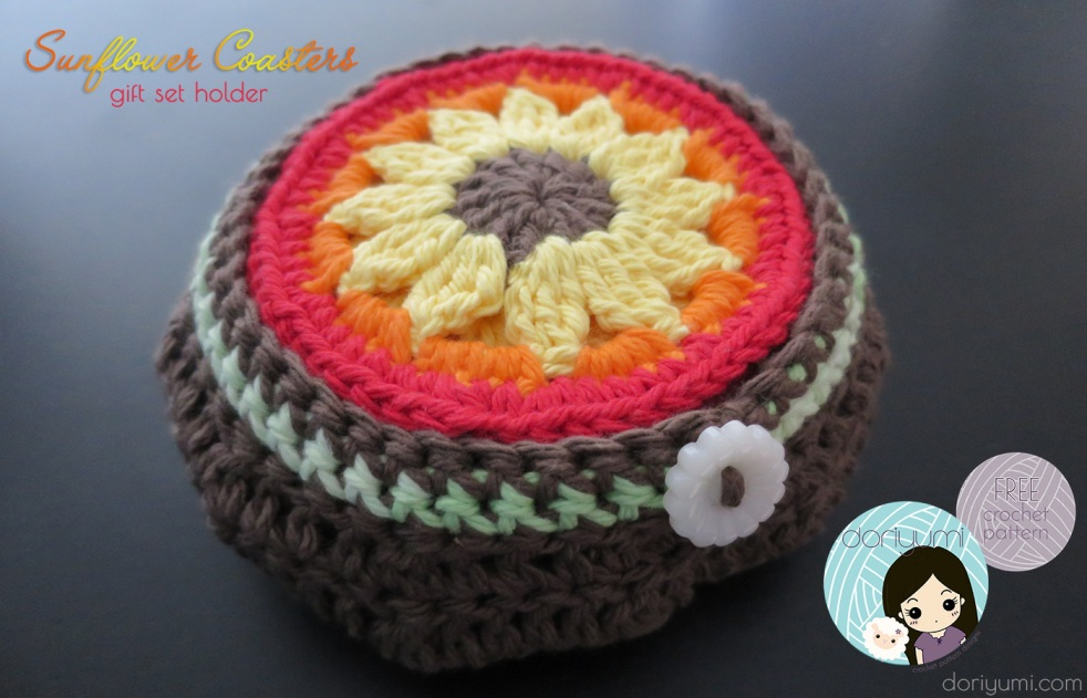 Sunflower Coasters Gift Set - free crochet pattern by DORIYUMI