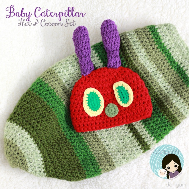 Baby Caterpillar Hat & Cocoon Set - Crochet Pattern by Doriyumi