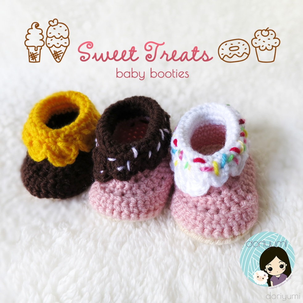 Sweet Treats Baby Booties - Crochet Pattern by Doriyumi