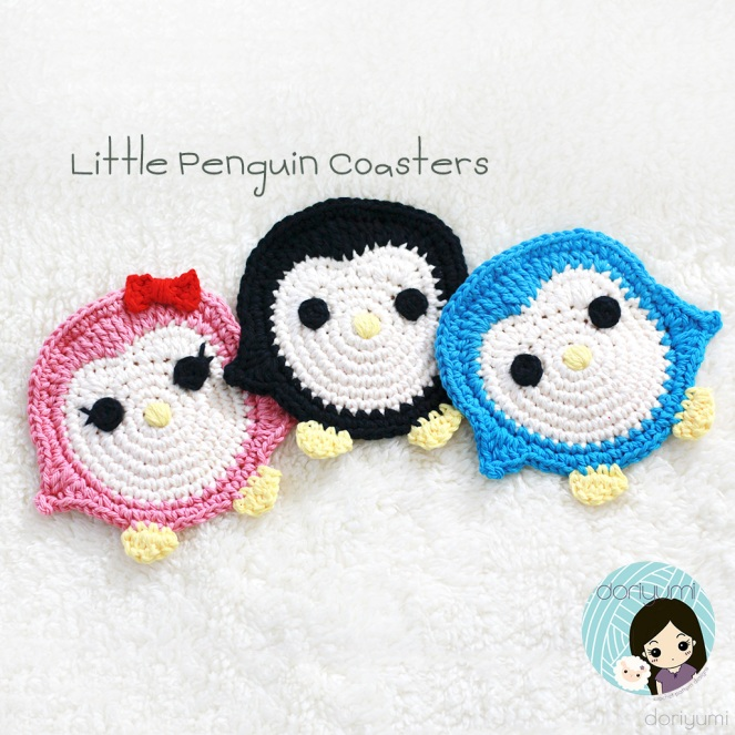 little penguin coasters - Crochet Pattern by Doriyumi