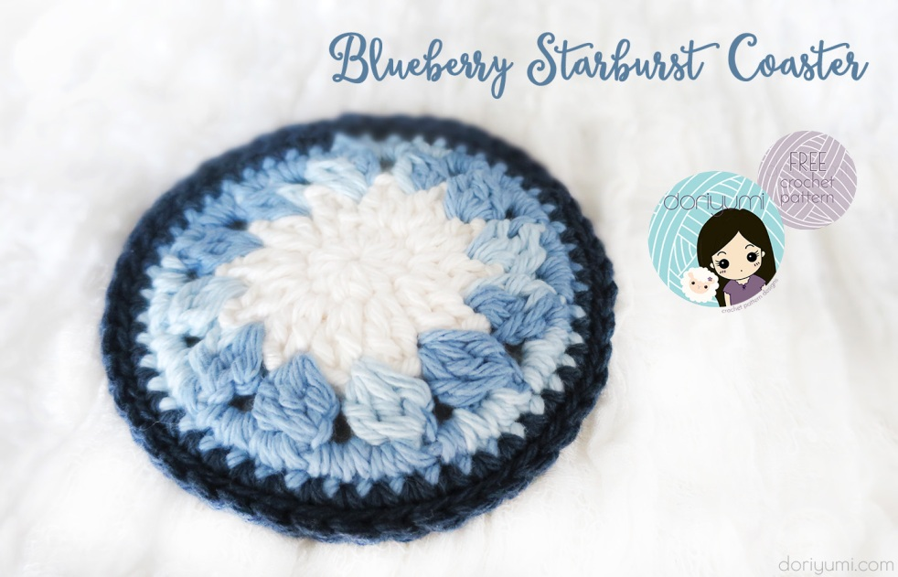 Blueberry Starburst Coaster - free crochet pattern by DORIYUMI