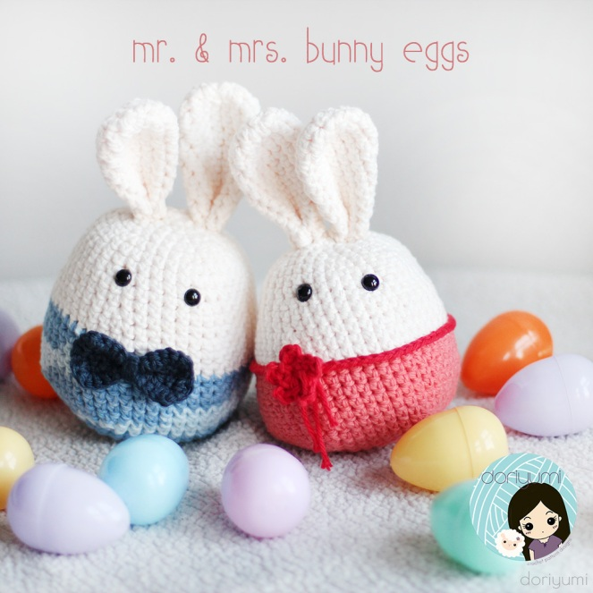 Mr Mrs Bunny Eggs - Crochet Pattern by Doriyumi