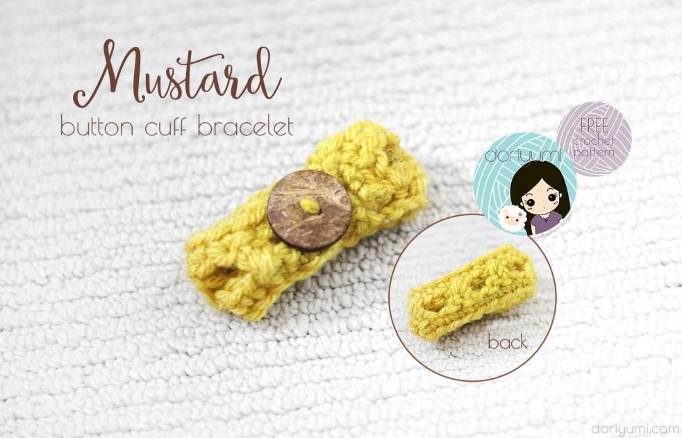 Mustard Button Cuff Bracelet - free crochet pattern by DORIYUMI