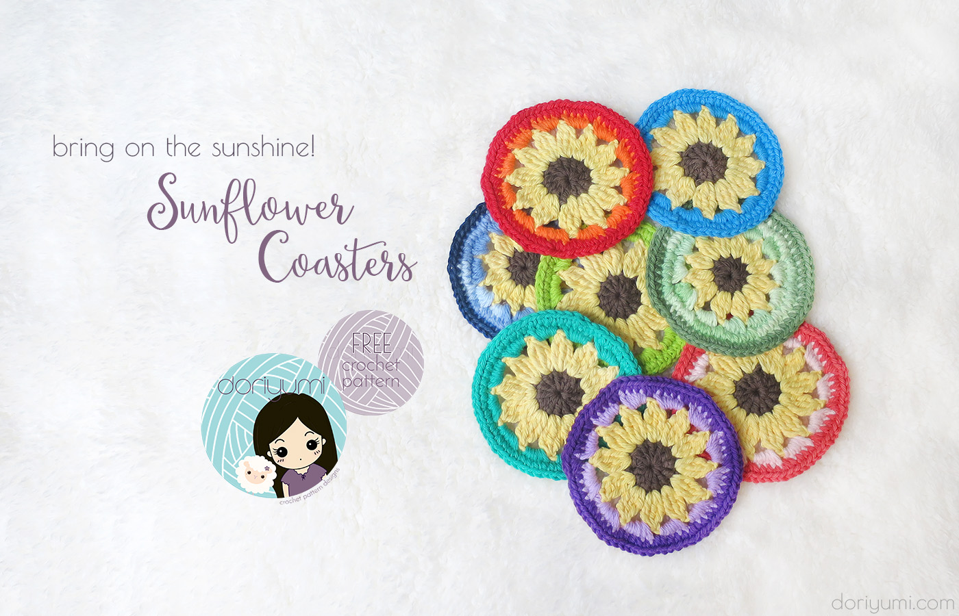 Sunflower Coasters - free crochet pattern by DORIYUMI