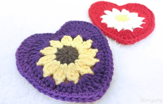 i Heart U Flower Coaster - Crochet Pattern by Doriyumii Heart U Flower Coaster - Crochet Pattern by Doriyumi