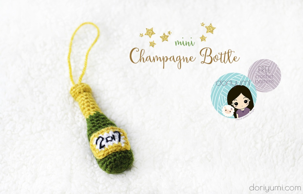 Mini Champagne Bottle - free crochet pattern by DORIYUMI