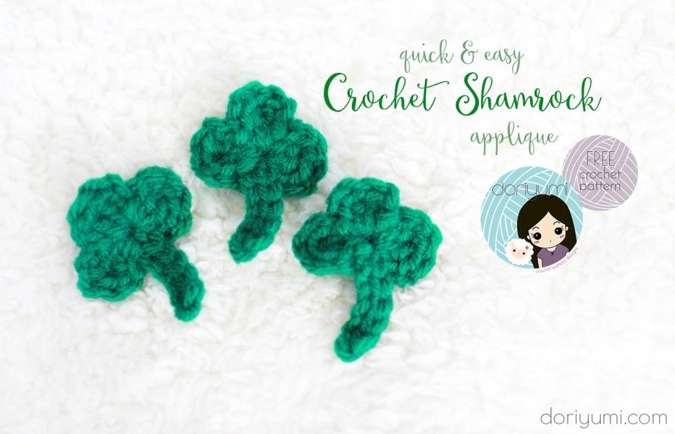 Crochet Shamrock Applique - Free Crochet Pattern by Doriyumi