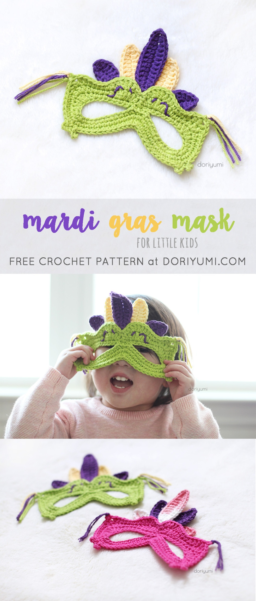 mardi gras mask for kids free crochet pattern by doriyumi