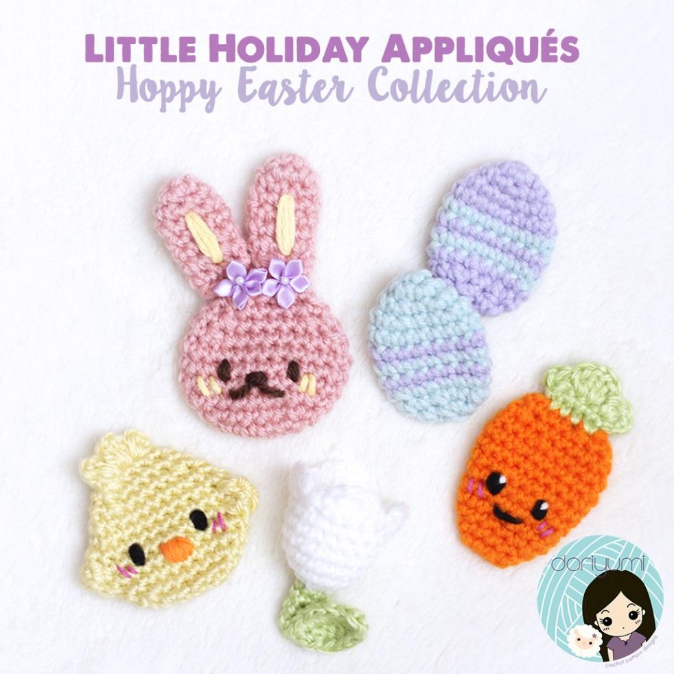 Little Holiday Appliqués Hoppy Easter crochet pattern by doriyumi.com